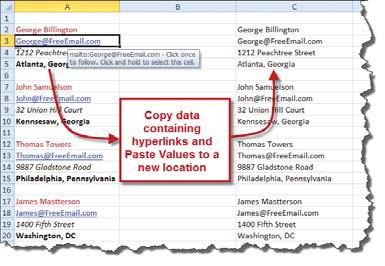Removing hyperlinks in Excel