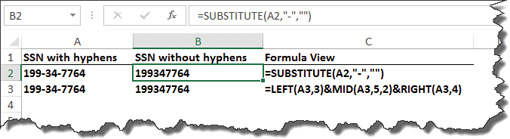 Excel at hyphen removal
