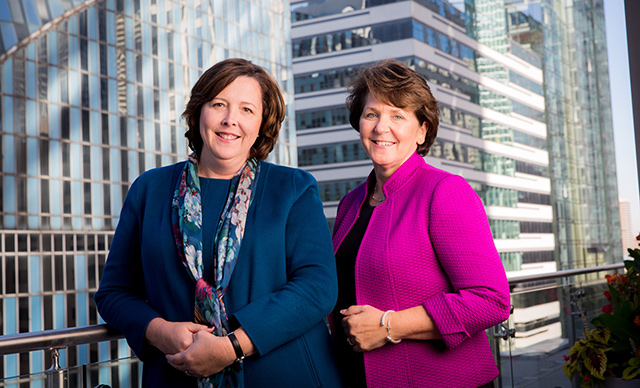 Debbie Smith, CPA, left, and Erica O'Malley, CPA, built a thriving employee benefit plan audit practice at Grant Thornton while embracing a flexible work model that encouraged professional advancement.