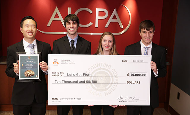 The team of Kevin Cheng (left), Eric Harrison, Morgan Little, and Ryan Hunt from the University of Kansas won the 2015 AICPA Accounting Competition.