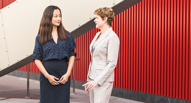 Stephanie Yan, CPA, (left) has become a key leader in Green Hasson Janks's notfor-profit practice under the guidance of her mentor, Donella Wilson, CPA.