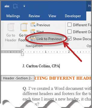 Microsoft Word How To Insert Different Headers And