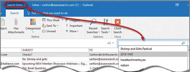 microsoft office  outlook 2016 search tips