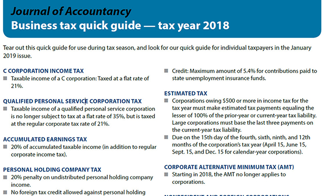Business tax quick guide