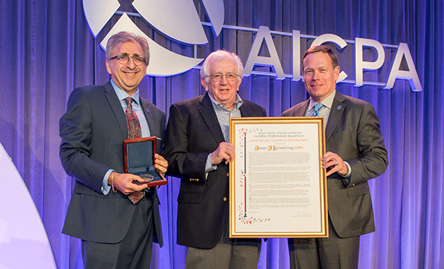 James J. Leisenring (center) receives the AICPA's 2019 Gold Medal Award of Distinction from Lewis Sharpstone (left) and former AICPA Chair Eric L. Hansen.