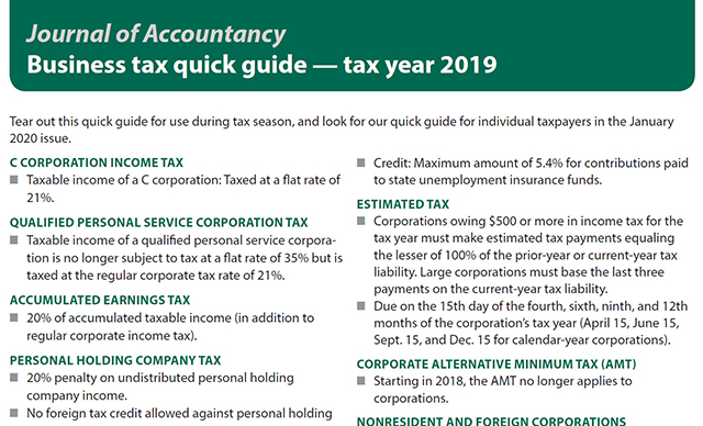 Business tax quick guide — tax year 2019