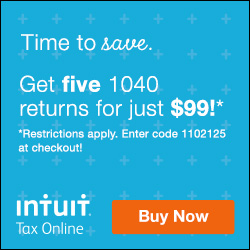 Intuit Tax Online  Time to save. Get five 1040 returns for just $99! Restrictions apply. Enter code 1102125 at checkout!
