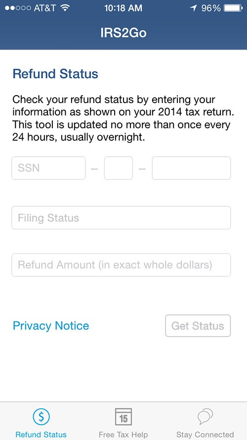IRS2Go Refund Status