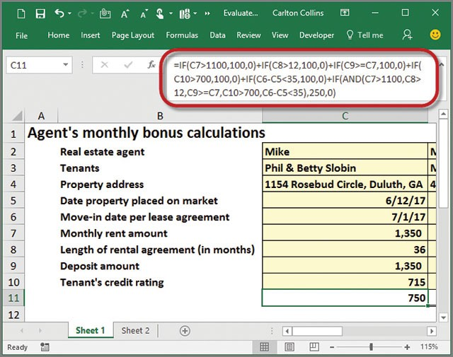 Microsoft Excel How To Evaluate Complex Formulas