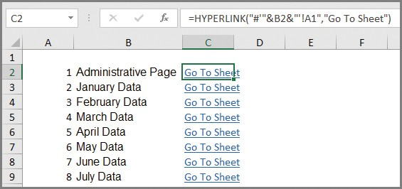 Microsoft Excel: Create an automated list of worksheet names