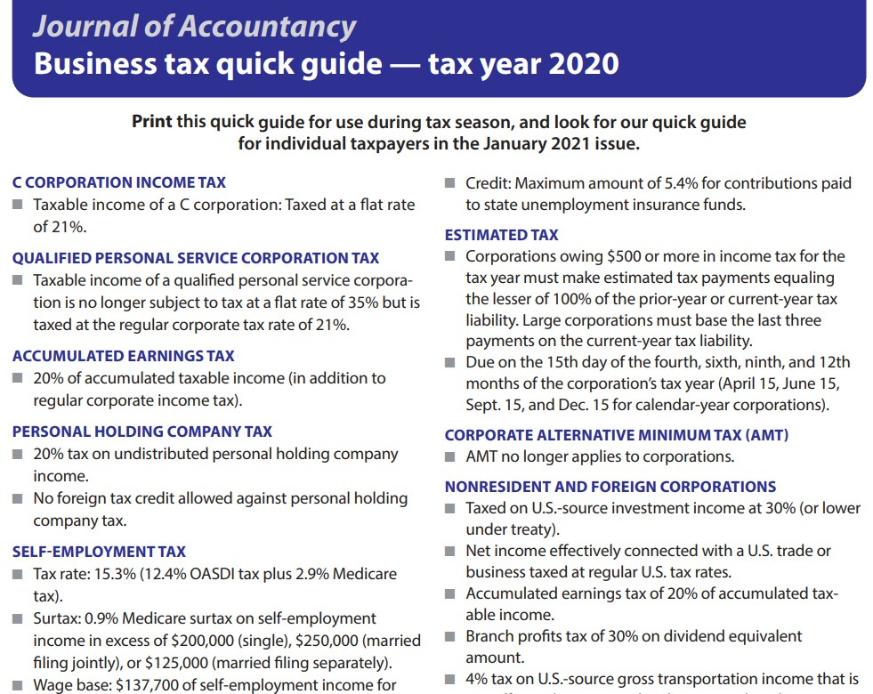 Business tax quick guide — tax year 2020