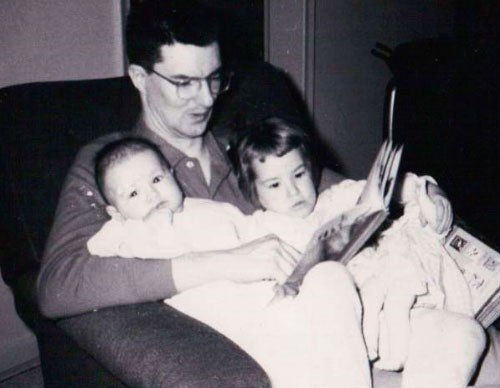 Annette Nellen (left), age 6 months, her father, Fred Bomyea, and her older sister, Karen