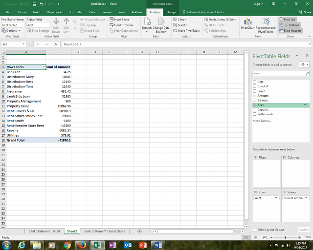 Summarize Data by Category PivotTable