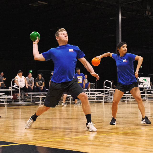 During busy season, employees at the BKD office in Wichita KS play invigorating games like dodgeball to help combat stress. Photo provided by BKD.